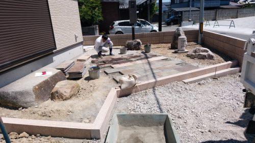 姫路市 造園 板石貼り